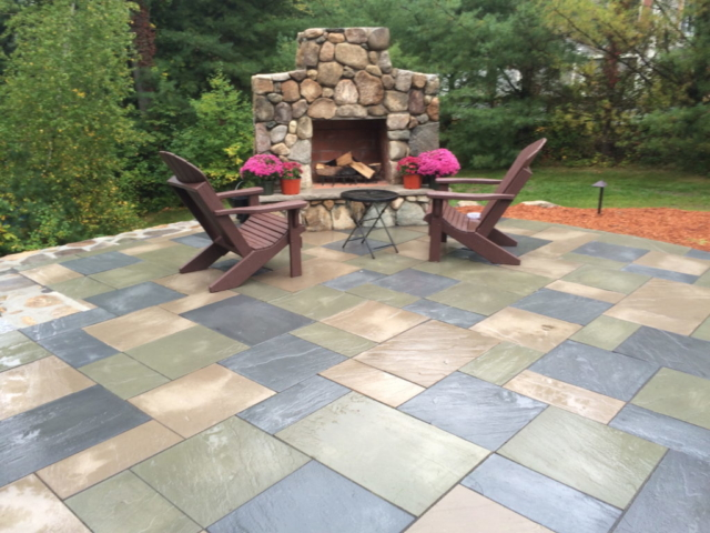 Patio with large fireplace